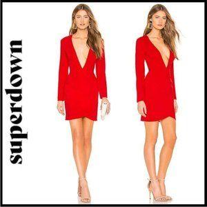 NWT Superdown Emile Deep V Wrap Mini Dress Size XS